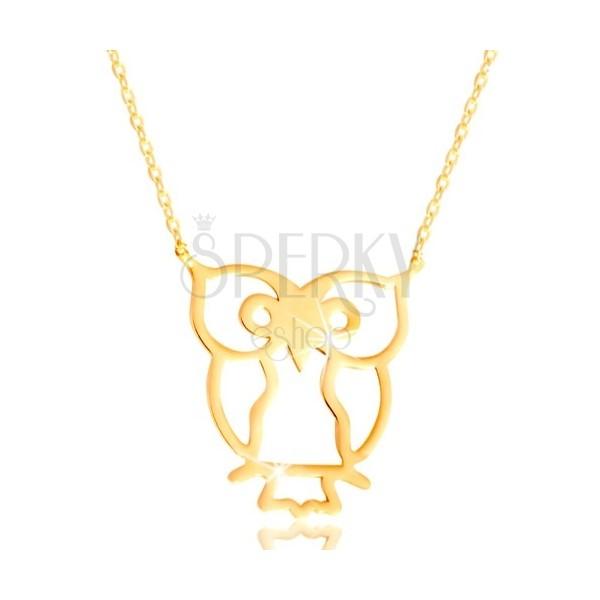 Collana in oro giallo 585 - gufo dimbolo della saggezza, catena sottile brillante