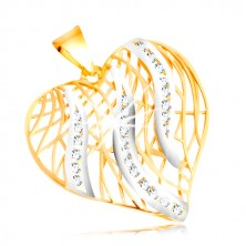 Ciondolo in oro 14K - contorno cuore, fiamme in oro bianco e zirconi