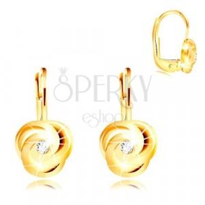 Orecchini in oro giallo 14K - tre petali arcuati in spirale, zircone rotondo