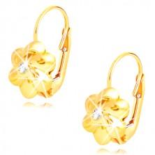 Orecchini in oro 585 - fiore con sei petali rotondi, zircone chiaro nel centro