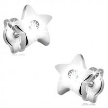 Orecchini in oro bianco 14K - stella a cinque punte con zircone