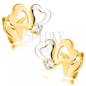 Orecchini in oro 585 in due colori - contorno cuore asimmetrico, zircone