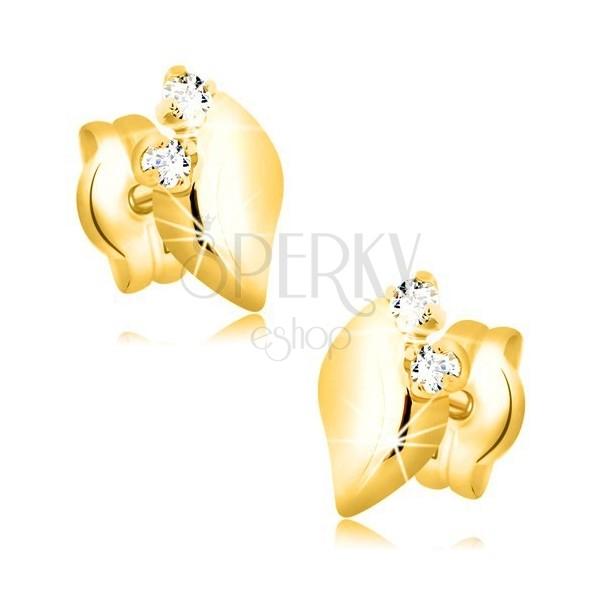 Orecchini in oro giallo 14K - foglia brillante con due zirconi chiari