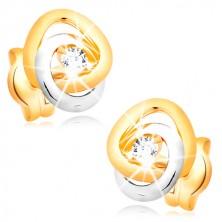 Orecchini in oro 585 - cerchi incrociati in due colori, zirconi chiari, brillanti