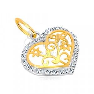 Ciondolo in oro 14K - contorno cuore con zirconi, centro decorativo