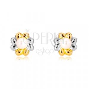 Orecchini in oro 585 in due colori - fiore in due colori con perla nel centro