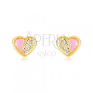 Orecchini in oro 14K - cuore simmetrico inciso con zirconi, smalto rosa
