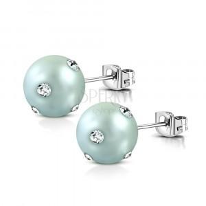 Orecchini in acciaio inox - perla acrilica in color grigio blu, zirconi chiari