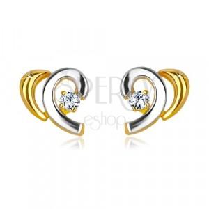 Orecchini in oro 14K in due colori - metà cuore con diamante