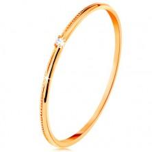 Anello in oro giallo 9K - zircone chiaro minuscolo, lati finemente zigrinati