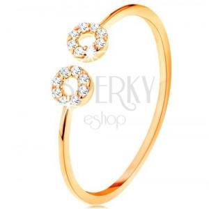 Anello d'oro 375 con i lati stretti divisi, piccole ghiere in zirconi