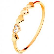 Anello in oro giallo 9K, piccoli cuoricini luccicanti, zirconi chiari minuscoli