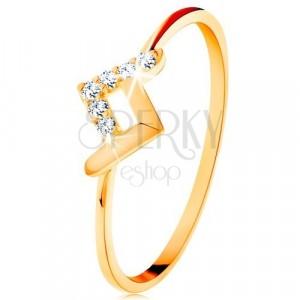 Anello luccicante in oro giallo 9K - una fascetta lucida e una piegata in zirconi
