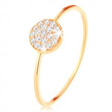 Anello d'oro 375 - lati sottili lucidi, cerchio incrostato da zirconi chiari