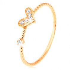 Anello d'oro 375, lati incurvati a spirale, cuoricino brillante, zircone