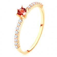 Anello d'oro 375 - linee in zirconi ciari, granato rosso rotondo rialzato