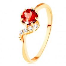 Anello d'oro 375 - granato rotondo in colore rosso, ondina luccicante