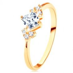 Anello luccicante d'oro 375 - quadretto in zircone chiaro, piccoli zirconi chiari sui fianchi