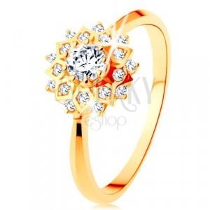 Anello d'oro 375 - sole brillante decorato da piccoli zirconi chiari rotondi