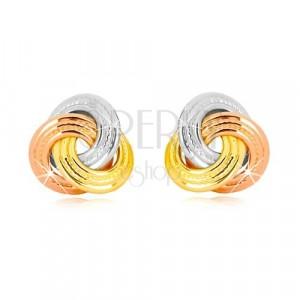 Orecchini in oro 14K - nodi a tre colori, anelli più larghi