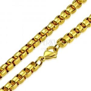 Catena in acciaio, color dorato, maglie brillanti ovali, 620 mm