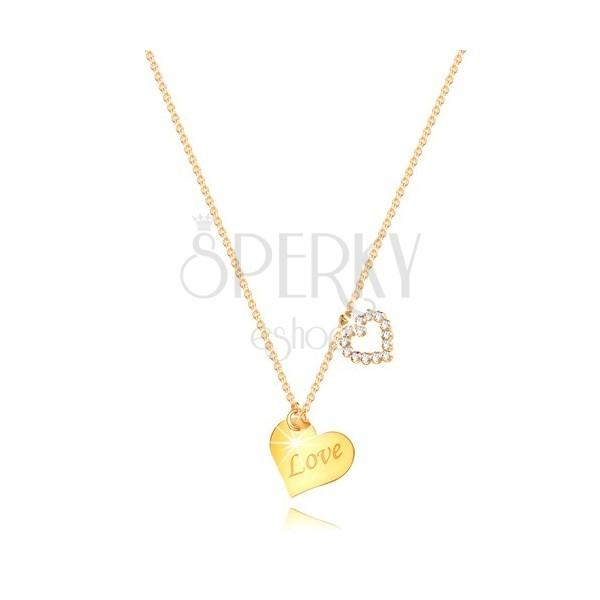"""Collana in oro giallo 9K - cuore con scritta """"Love"""", contorno di cuore con zirconi"""