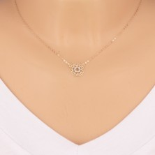 Collana in oro 9K combinato - fiore intagliato e zircone ricamato