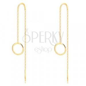 Orecchini in oro giallo 9k - cerchio brillante, striscia sottile e catena