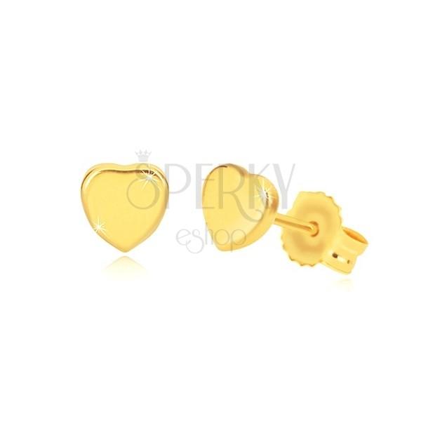 Orecchini in oro giallo 14K - cuore simmetrico brillante, perno e farfalla