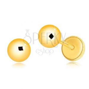 Orecchini in oro giallo 585 - semplice pallina brillante, 5 mm
