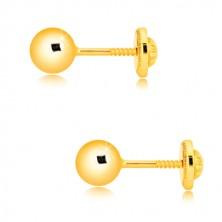 Orecchini in oro giallo 585 - semplice pallina brillante, 5 mm, farfalla con sicurezza