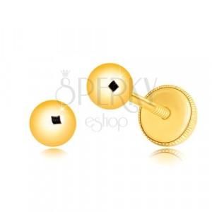 Orecchini in oro giallo 14K - pallina con superficie brillante e liscia, 4 mm