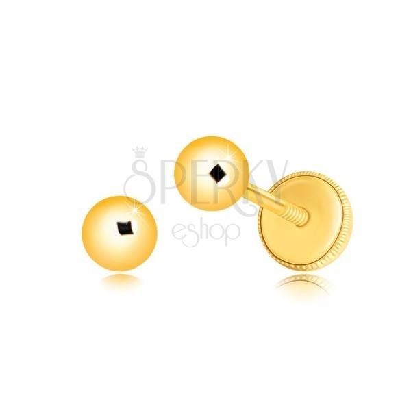 Orecchini in oro giallo 14K - pallina con superficie brillante e liscia, 4 mm, farfalla con sicurezza