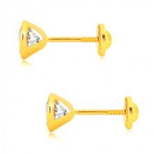 Orecchini in oro 585 - zirconi chiari brillanti in montatura rotonda, 5 mm, farfalla con sicurezza