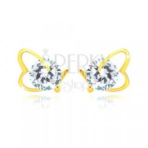 Orecchini in oro giallo 14K - contorno cuore asimmetrico, zircone brillante