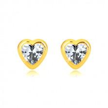 Orecchini in oro giallo 585 - contorno cuore simmetrico brillante, zircone a cuore, farfalla con sicurezza