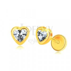 Orecchini in oro giallo 585 - contorno cuore simmetrico brillante, zircone a cuore