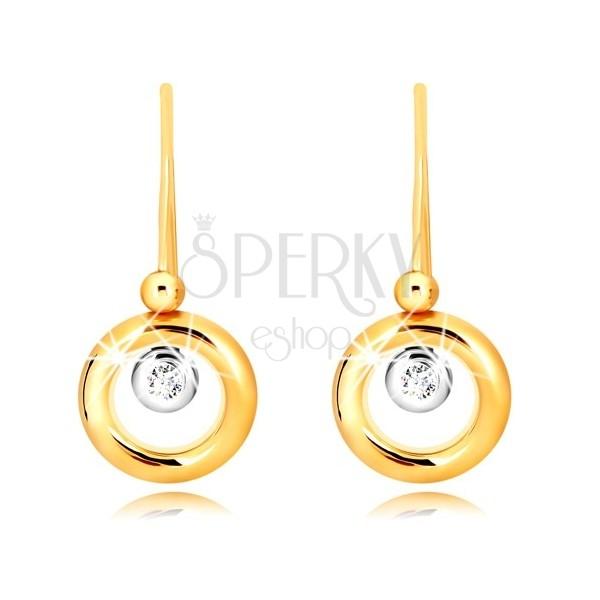 Orecchini in oro 9K - anello in oro giallo, montatura in oro bianco e zircone