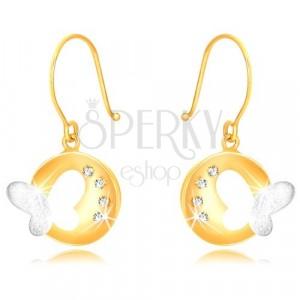 Orecchini in oro 375 in due colori - cerchio brillante con farfalla e zirconi
