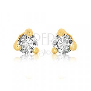 Orecchini in oro giallo 9K - zircone chiaro rotondo in montatura a triangolo