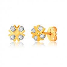 Orecchini in oro giallo 375 - fiore in zircone con linee brillanti v e pallina, perno