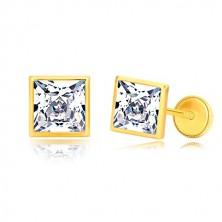Orecchini in oro giallo 585 - zircone brillante quadrato in griffa brillante, 6 mm, farfalla con sicurezza