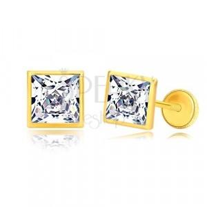 Orecchini in oro giallo 585 - zircone brillante quadrato in griffa brillante, 6 mm