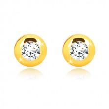 Orecchini in oro giallo 14K - cerchio brillante con zircone chiaro rotondo, farfalla con sicurezza