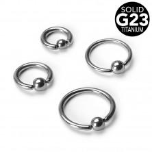 Piercing in titanio - cerchio con pallina, larghezza 1,2 mm