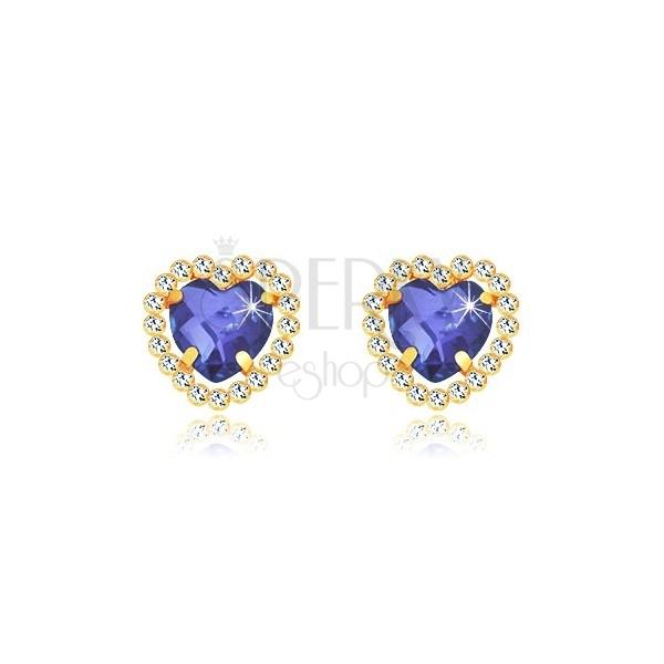 Orecchini in oro giallo 375 - cuore in zircone blu zaffiro con limone chiaro