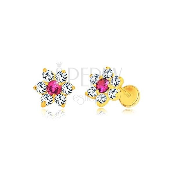 Orecchini in oro giallo 585 - fiore in zircone, centro color rubino, chiusura a perno