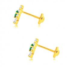 Orecchini in oro 585 - fiore in zircone, centro verde-smeraldo, chiusura a perno