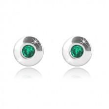 Orecchini in oro bianco 9K - cerchio brillante con smeraldo rotondo, 4,5 mm