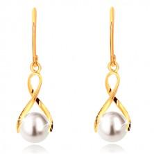 Orecchini in oro giallo 375 - nastro curvo brillante, perla arrotondata bianca